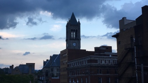 Fayette County Courthouse at dusk.