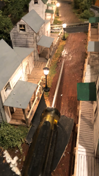 A street through a patch town in my grandfather's railroad model